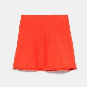 NWT Bright Red Orange Zara Tweed Mini Skirt